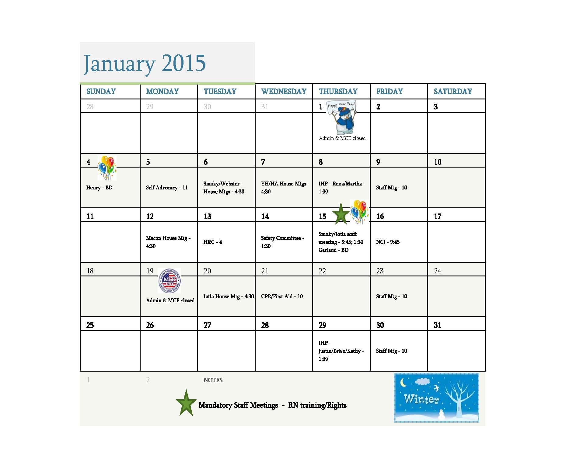 MCH 2015 Annual Calendar 1
